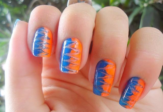 Nail art em zigue-zague com palito
