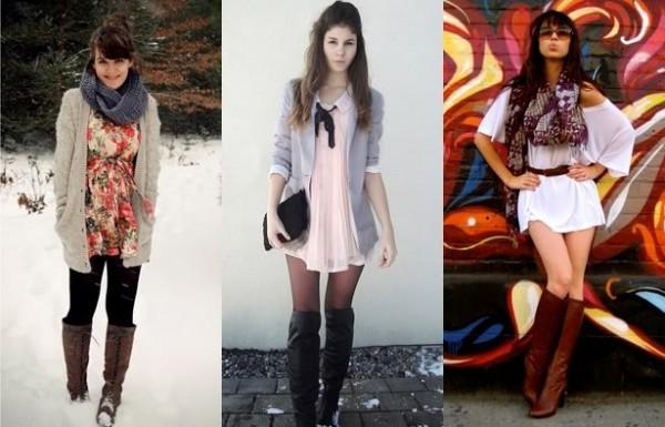 Botas de cano longo + vestido