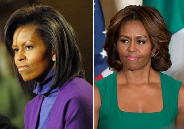 Michele Obama antes e depois de sobrancelhas bold