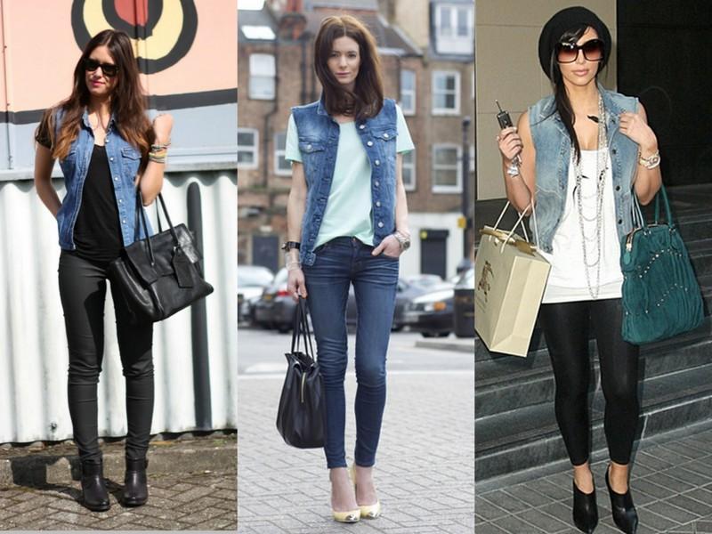 Vestido de veludo com colete jeans