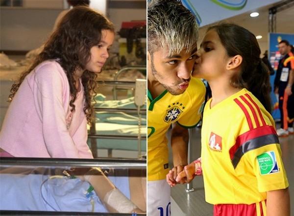 Neymar e fã mirim que parece com Bruna Marquezine