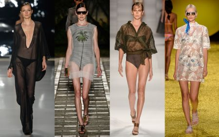 Saída de praia com transparência na moda praia 2015
