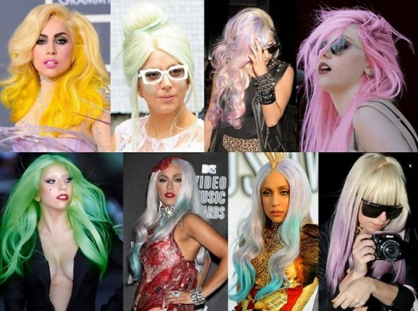 Lady Gaga com cabelo colorido