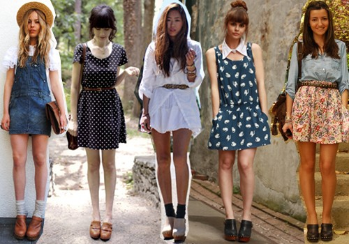 clogs com vestidos soltinhos