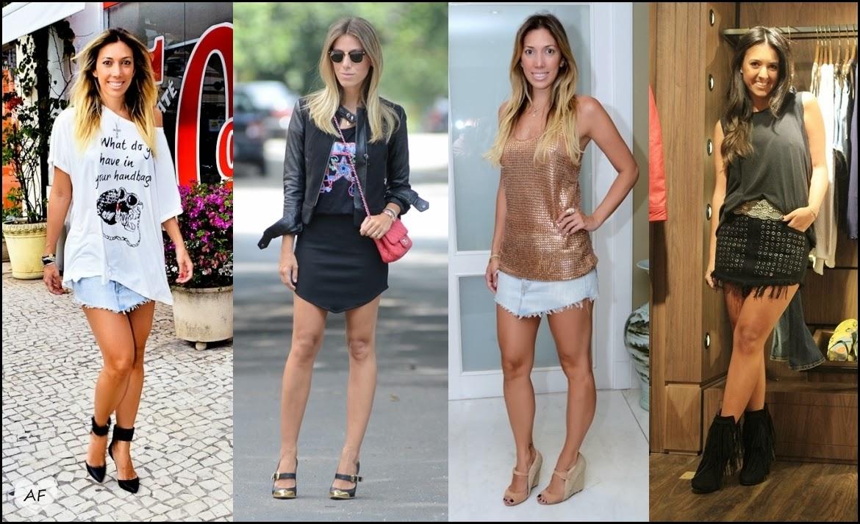 Resultado de imagem para looks com saia jeans curta
