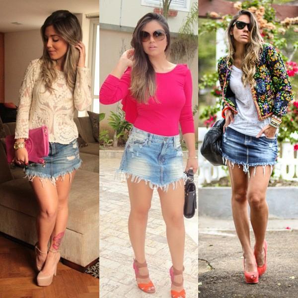 mulheres usando saia jeans de bico