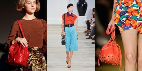 Bolsa Saco vermelha e laranja