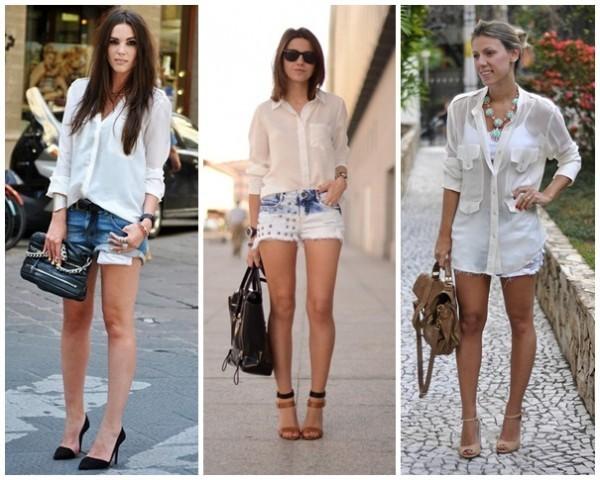Camisa branca + short jeans