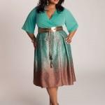 Foto de Vestido Plus Size verde com marrom