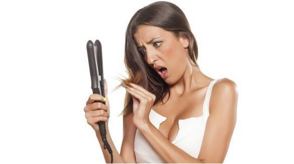 Usar chapinha no cabelo cheio de produto
