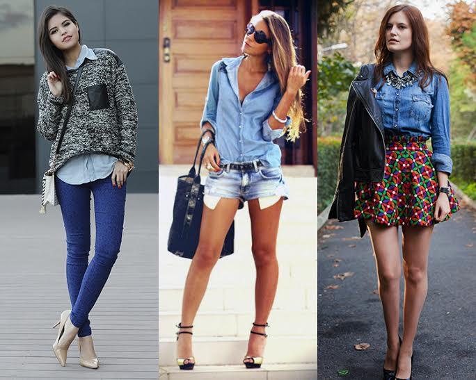 ideia de look com a camisa jeans