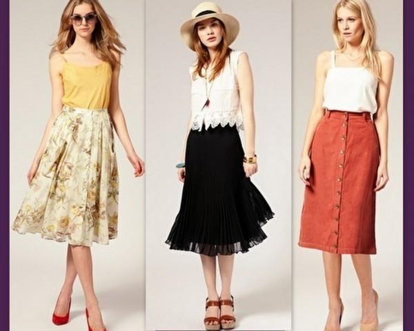 Desfiles com looks do Verão 2015 apostas em modelos com saias midi