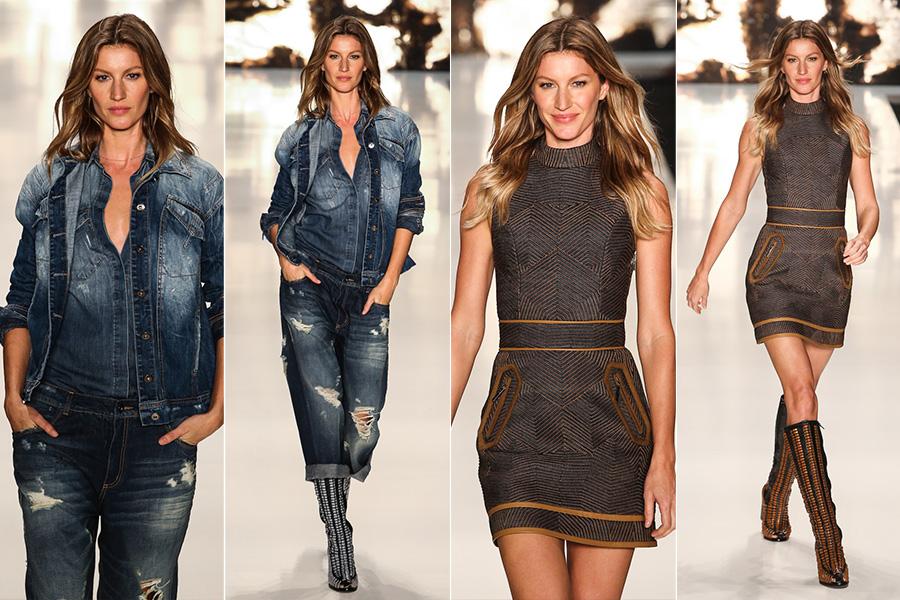 38e5e6557 Gisele Bündchen usando a tendência Jeans do Outono inverno 2015