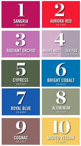 cartela de cores da pantone para a moda inverno 2015