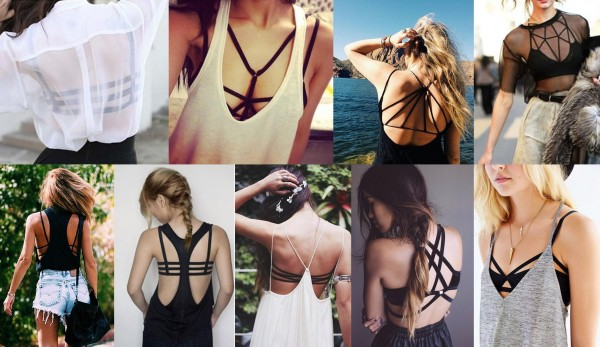 mulheres usando Strappy Bra que é uma tendência da moda Primavera verão