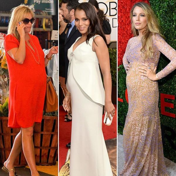 grávidas e famosas desfilando com vestidos de festa