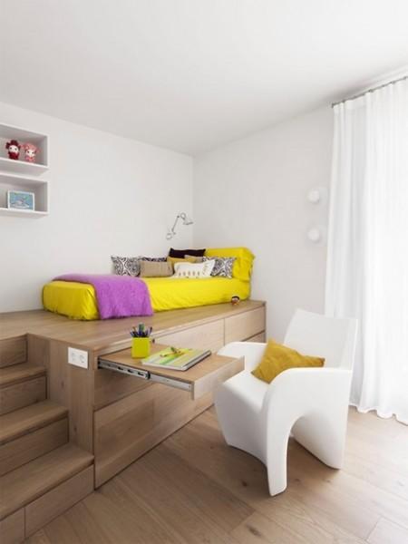 cama alta para decoração de quarto pequeno