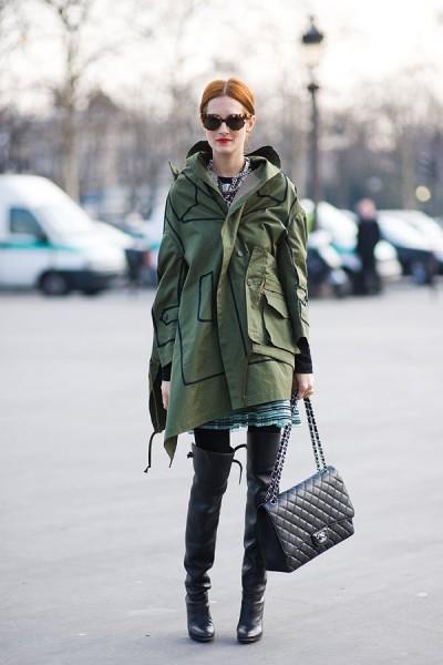casaco verde estilo militarismo
