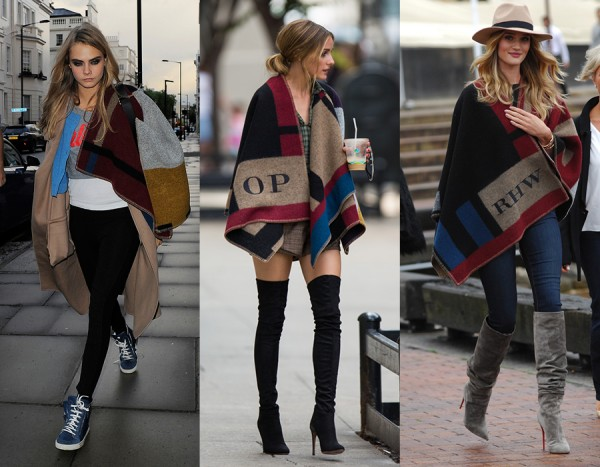 Cara Delevingne, Olivia Palermo e Rosie Huntington-Whiteley usando poncho