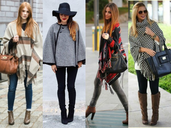 mulheres usando poncho curto