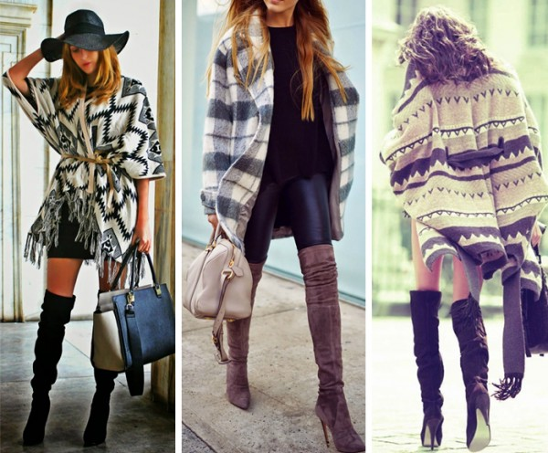 poncho com botas do modelo over the knee