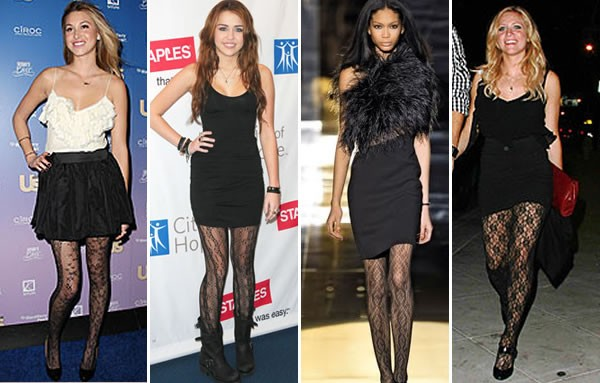 celebridades usando Meia-calça Trabalhada