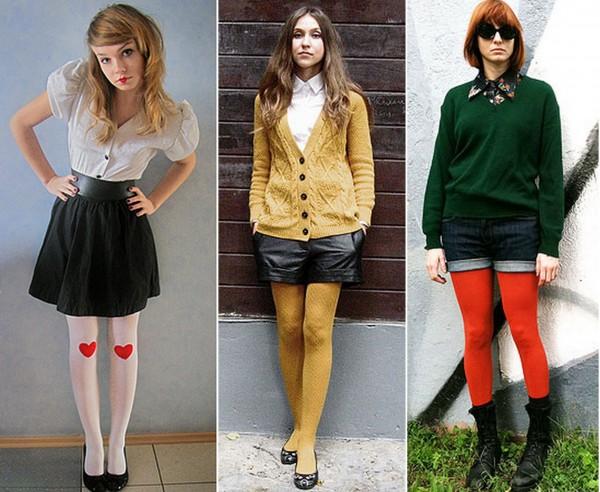 mulheres usando meia-calca colorida