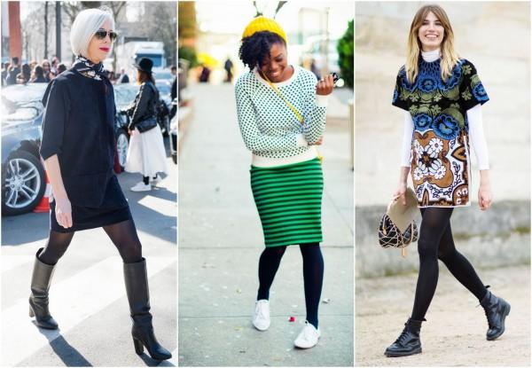 mulheres usando meia calça preta