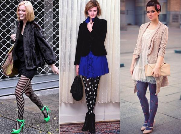 mulheres usando meia-calça trabalhada ou estampada