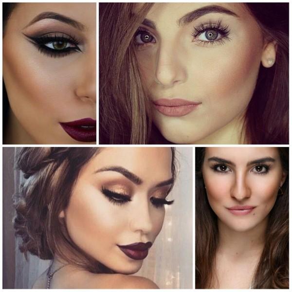 Fotos de mulheres usando maquiagem que afina o rosto