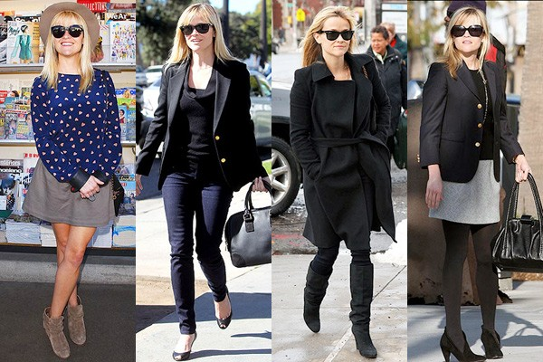 Reese Witherspoon com roupas de inverno