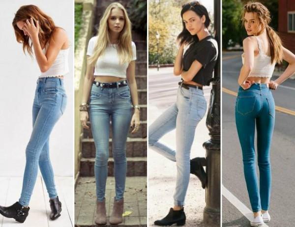 Garotas usando calça de cintura alta