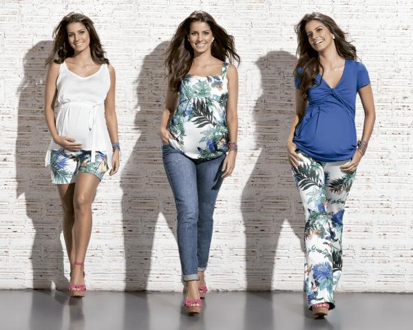 estampas tropicais na moda gestante 2016