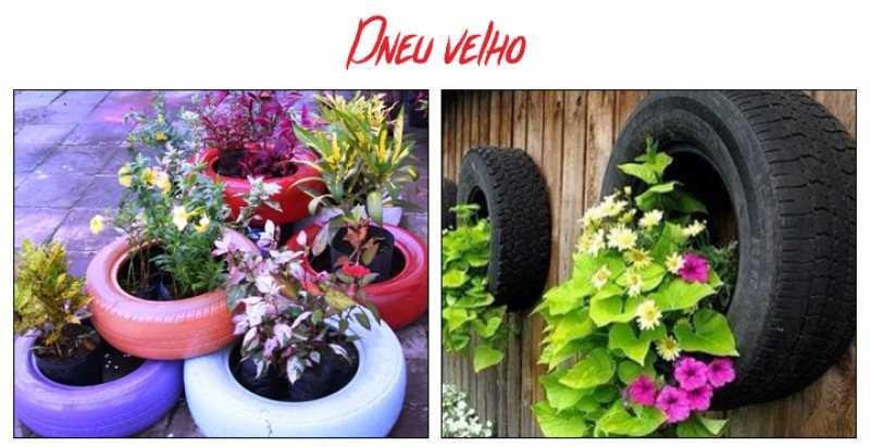 Pneus velhos podem ser utilizados para você criar jardins e hortas caseiras