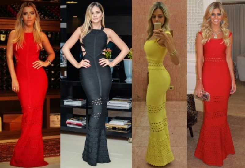 Mulheres elegantes usando vestido bandagem