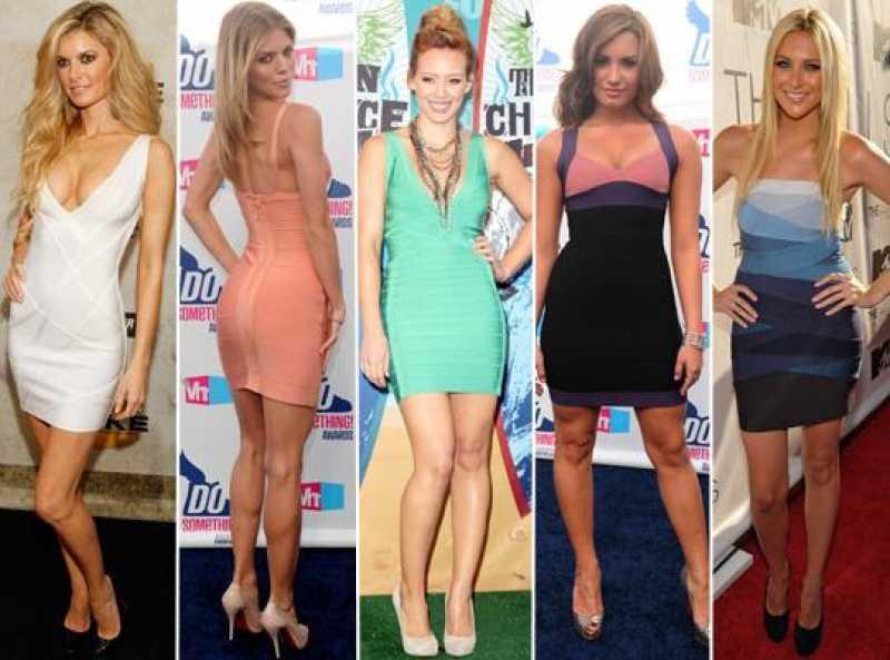 Fotos com vários modelos de vestido bandagem