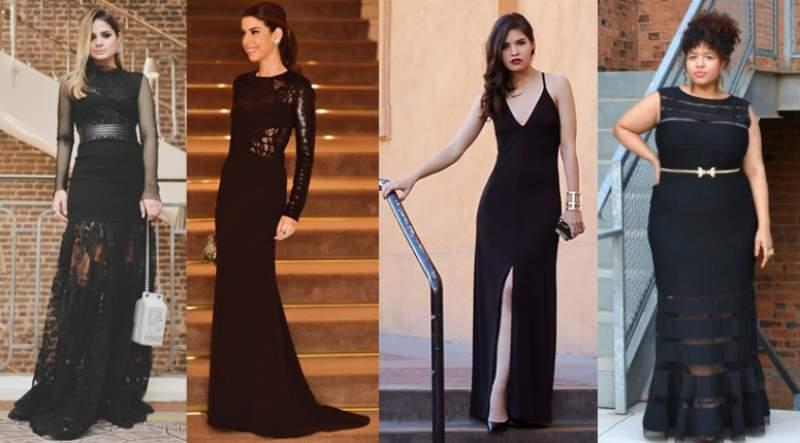 vestido de festa preto em traje fino