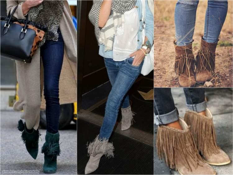 Para garantir um look arrojado e moderno, a dica é apostar no combo t-shirt básica + calça jeans skinny + bota cano curto com franjas.