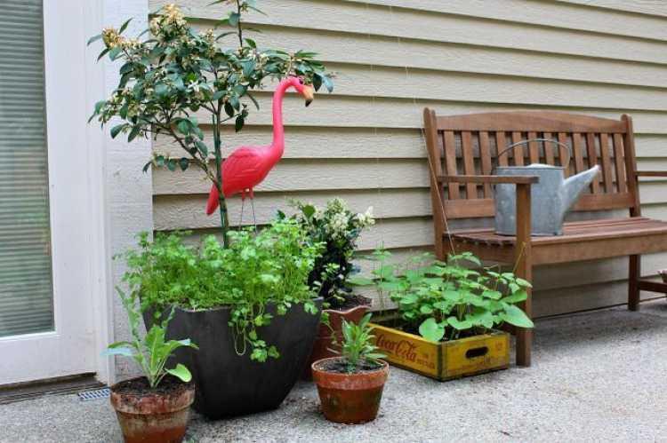 decoração do quintal com caixa de madeira