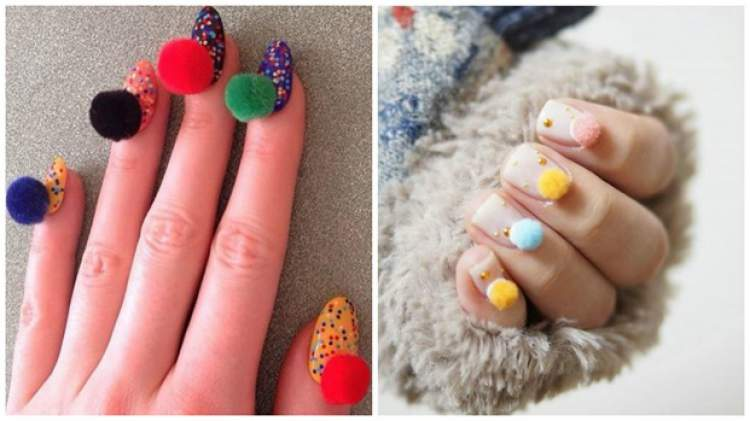 fotos de unhas decoradas com pompom