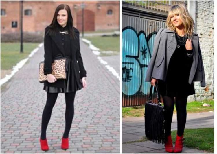 look preto com botas vermelhas