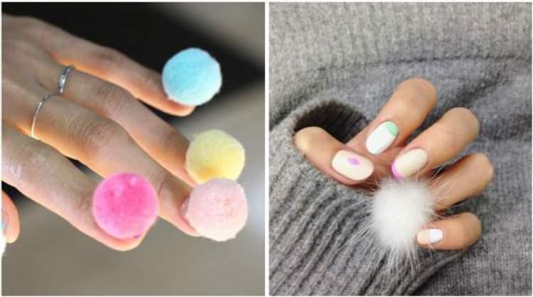 Nail Art com Pompom