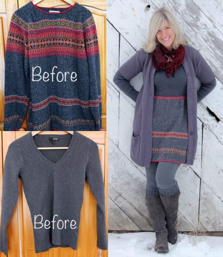 Transforme suéteres antigos em um vestido