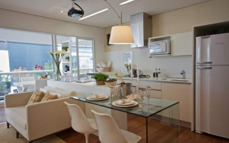 cozinha e sala sem parede