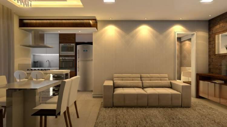 cozinha planejada pequena integrada com sala de jantar