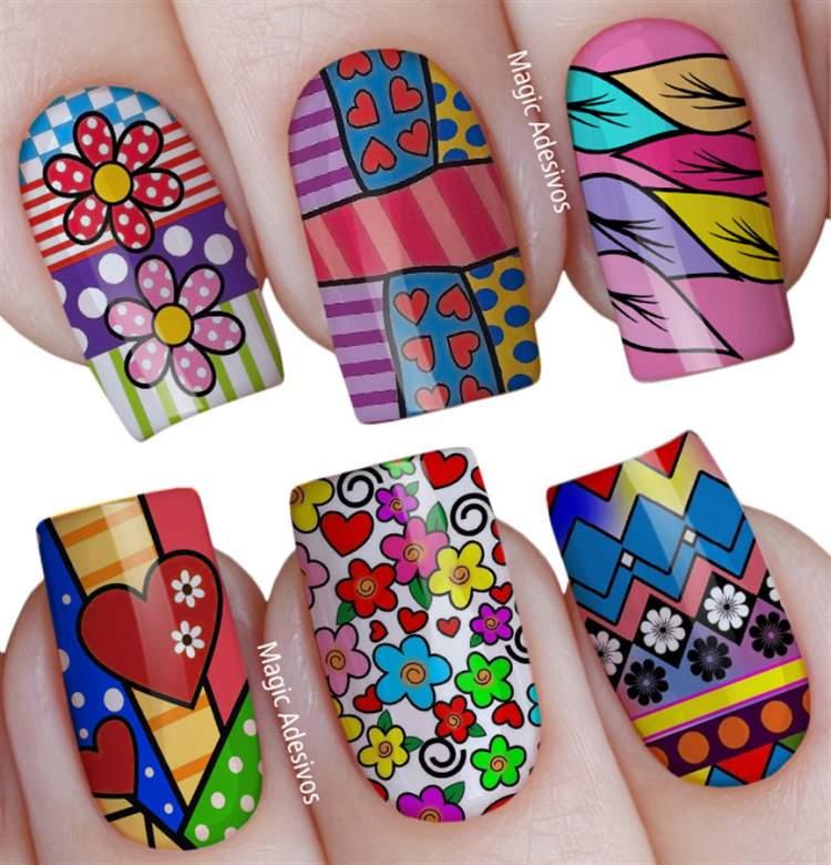 unhas decoradas com desenhos coloridos
