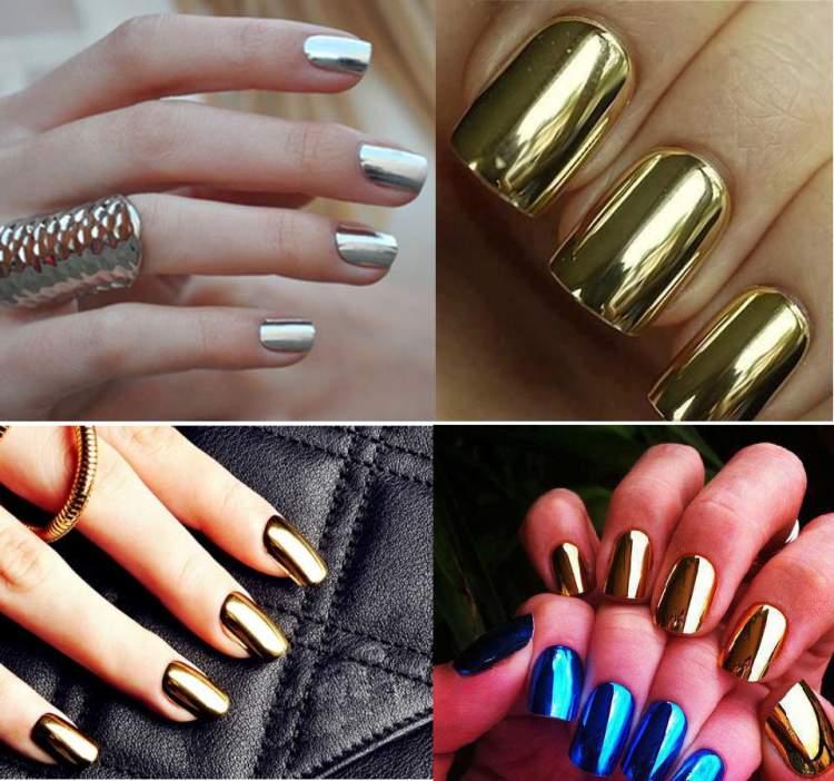 unhas metalizadas é uma das tendências de nail art para 2017