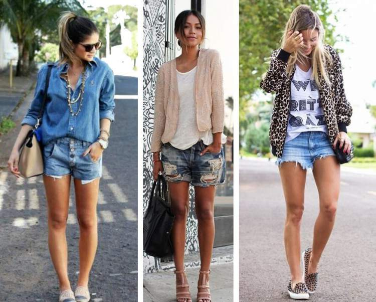 Look casual elegante com shorts jeans