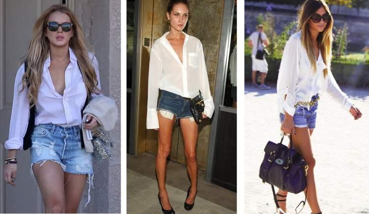 Shorts jeans com camisa branca, para um básico nada básico