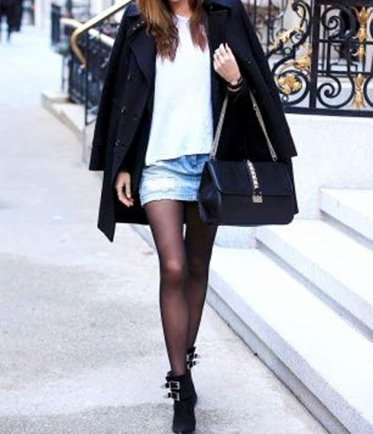 como usar saia jeans no look de inverno